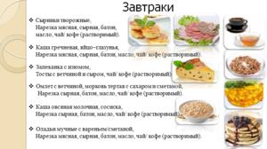 Сбалансированное питание меню на день